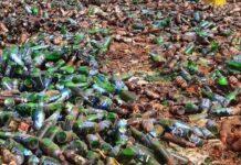 Destroyed beer bottles